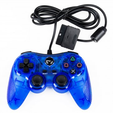 PS2 Clear Blue Wired Controller - Similar To DS2