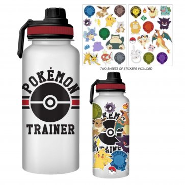. Pokemon 32oz Twist Spout Plastic Bottle w/ Sticker Set