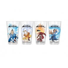 Avatar Character Poses Clear Pint Glass - Set of 4 - 16oz