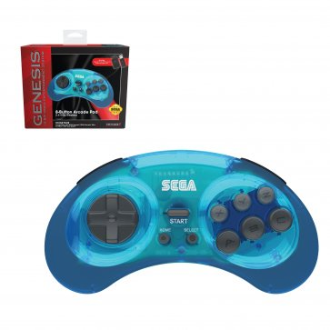 SEGA Genesis 8-Button Arcade Pad Clear Blue Wireless 2.4 GHz