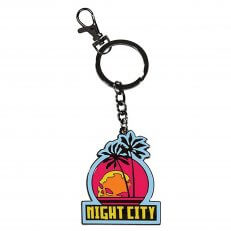 A Cyberpunk 2077: Night City Keychain