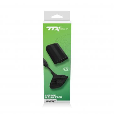 TTX Tech Charge and Play Pack  for Xbox 360 - Black