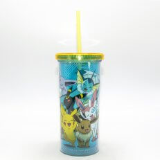Eevee and Pikachu Plastic Tall Cold Cup w/ Lid and Straw