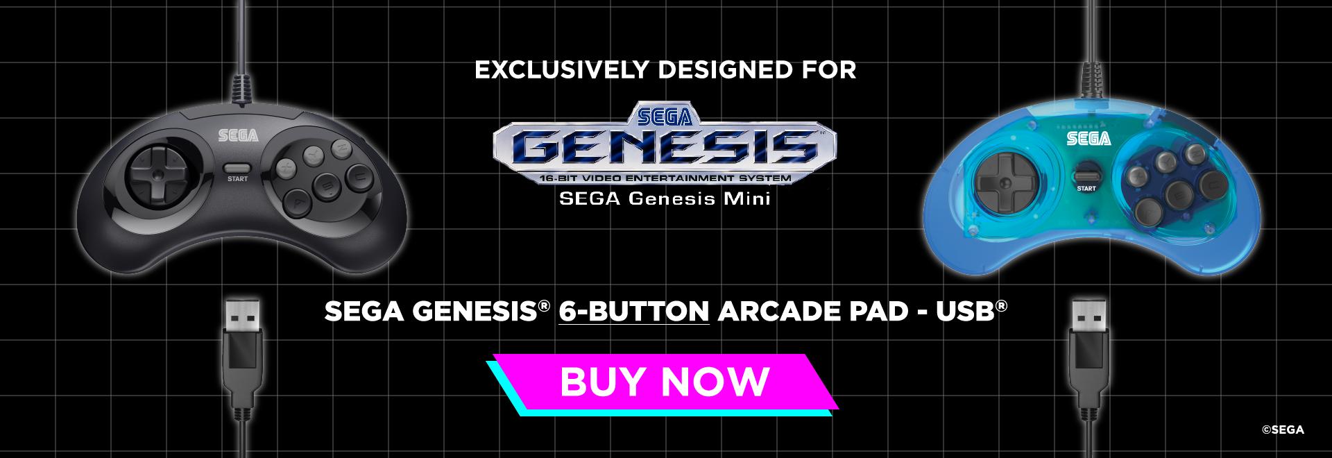 SEGA, Genesis, Mini, 6-Button, USB, Arcade Pad, Retro-Bit, Buy Now