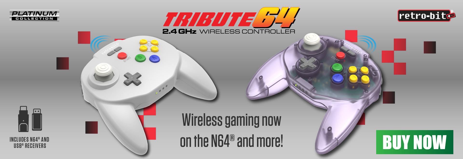 Tribute64 2.4 GHz Wireless Controllers are now available!