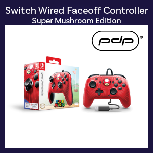 Switch - Controller - Wired - Faceoff Pro Controller - Super Mushroom Edition (PDP)