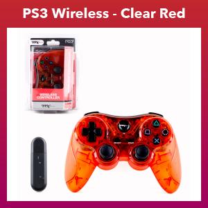 PS3 - Controller - Wireless - 2.4 GHZ Controller - Clear Red (TTX Tech)